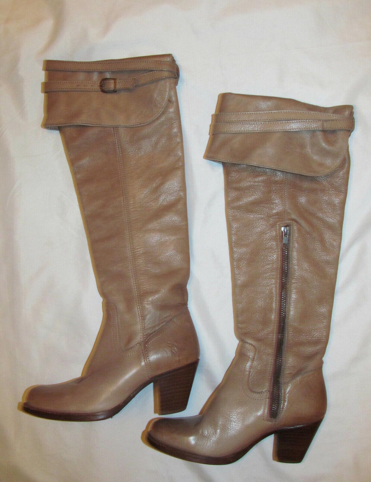 FRYE SARAH OVER THE KNEE OTK tan beige foldover zip heeled boots 5.5 M