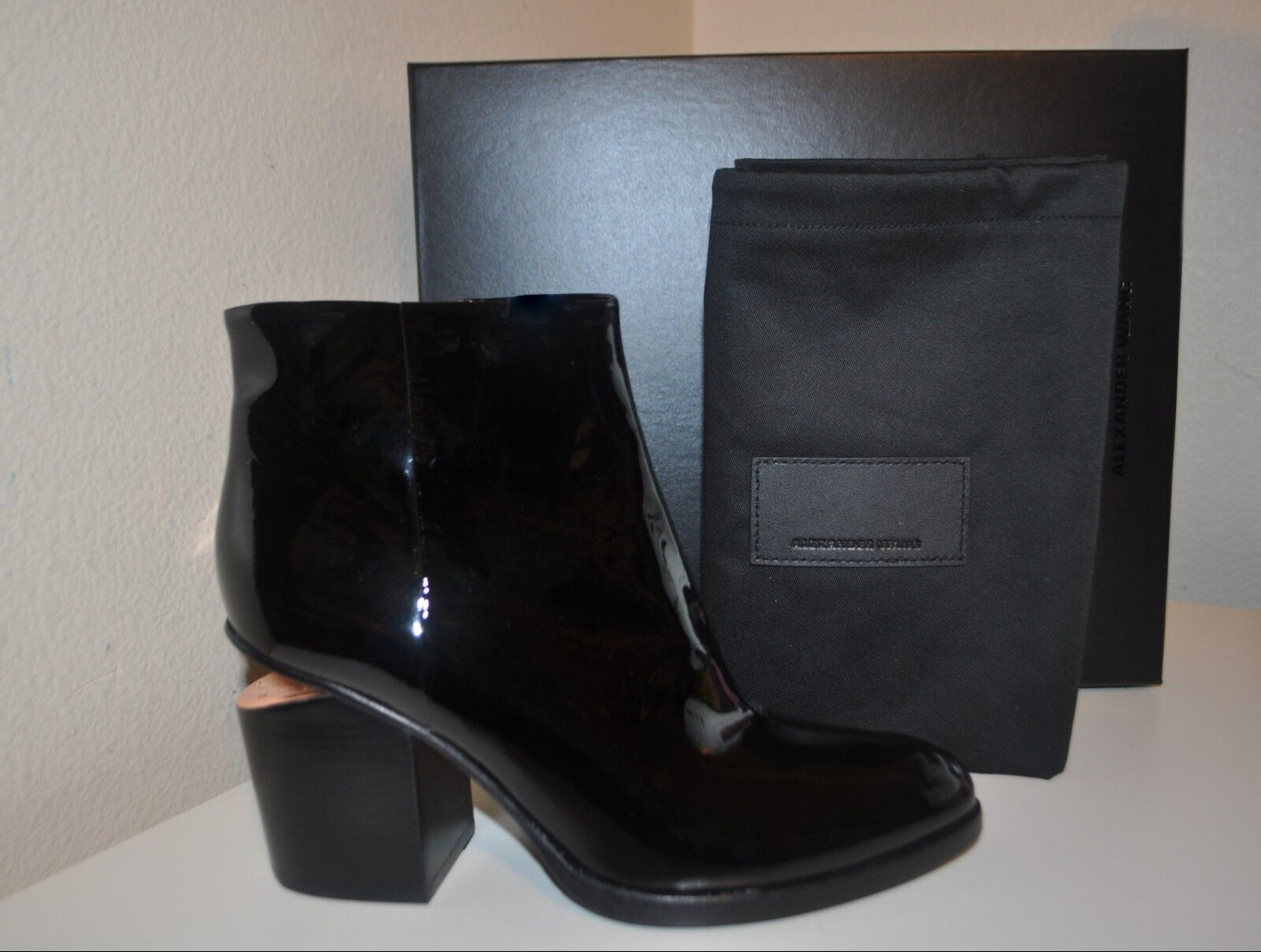 NIB Alexander Wang GABI Ankle Block Heel Bootie Black Patent Leather Sz 38- 7 US