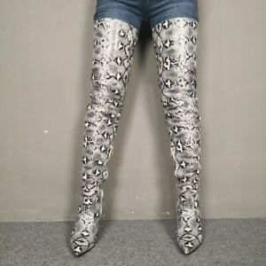 Womens-Snakeskin-print-Leather-High-Heel-Over-Knee-High-Boots-Side-zip-Shoes-NEW