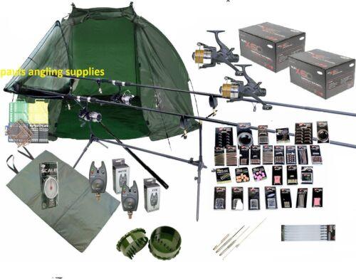 Set Rods Reels Tools Mat Shelter  GIANT Accessory Pack Carp Fishing Kit