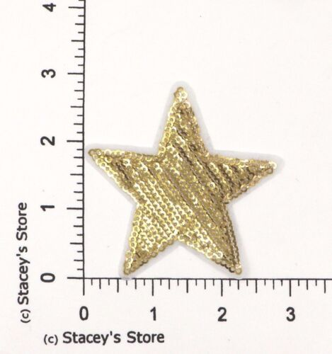 GOLD SEQUIN STAR APPLIQUE SGS-489 GOLD STAR SEQUIN PATCH
