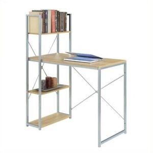 Designs2Go Office Work Station with Shelves in Off-white Light Oak