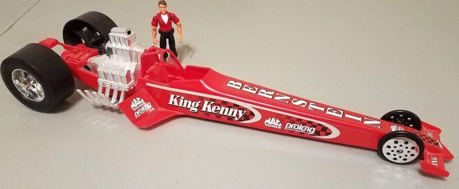Autographed King Kenny Bernstein 21  Top Fuel Dragster Plastic Toy. Mac Tools