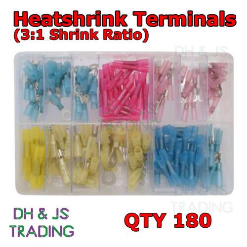 Assorted Box of Heatshrink Terminals Heat Shrink Qty 180 Fork Ring Spade Butt
