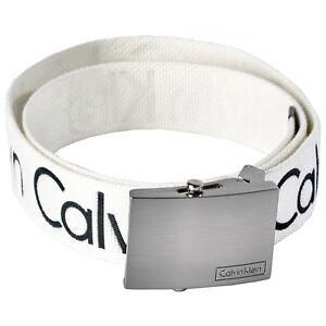 New Calvin Klein Men's Premium Ck Logo Cotton Adjustable Belt White 73545