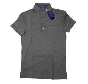 Ralph-Lauren-Purple-Label-Mens-Cotton-Pocket-Garment-Wash-Grey-Pique-Polo-Shirt