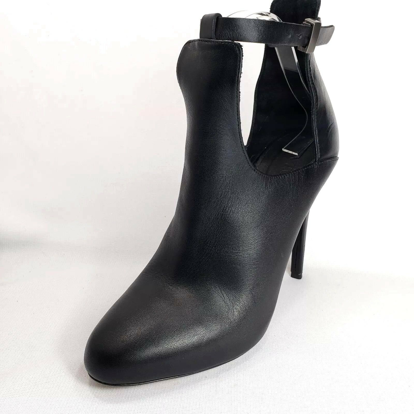 VINCE Sonia Black Leather High Heel Ankle Cut Out Booties Womens Size 9.5M