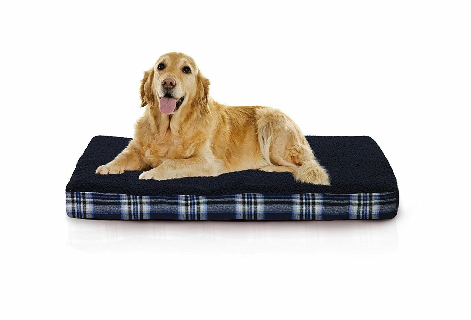 Furhaven Pet Products NAP Terry and Plaid Deluxe Memory Foam Pet Bed
