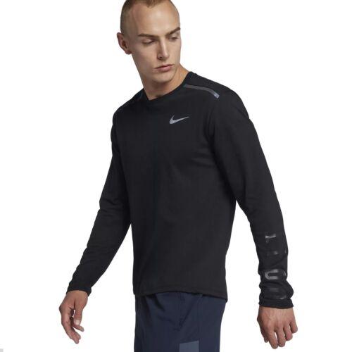 NIKE Da Uomo Manica Lunga Corsa Allenamento Shirt Breathe Tailwind Tapis Parte Superiore Nero