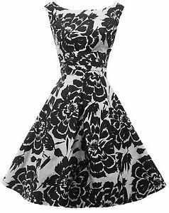 NUEVO-Rosa-Rosa-1940-s-Estilo-50-039-s-Estilo-Negro-Blanco-de-flores