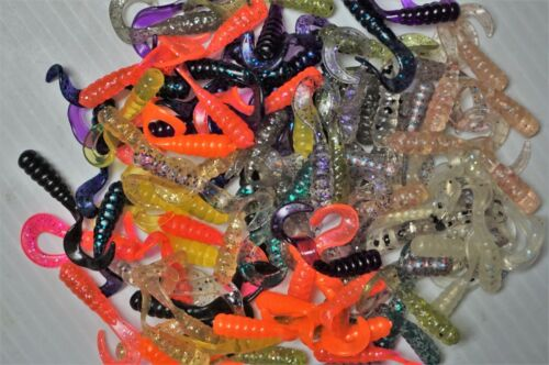 """100 Curly Tail Grubs 1 1//2/"""" Panfish Plastic Fishing Lures Crappie,Bream,Trout"""