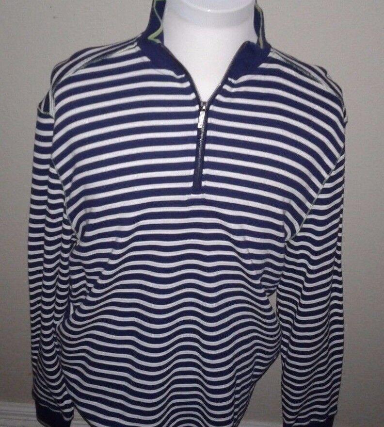 178 Robert Graham  Herren 100% Cotton Blau Striped 1/2 Zip Sweater SZ XL