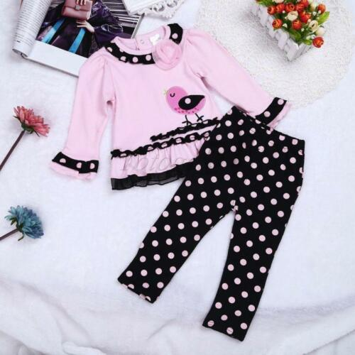 Infant Baby Girl Outfit Clothes Ruffled Top Shirt Pants 2pcs Trousers Party Sets