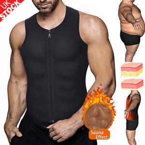 Mens Neoprene Sauna Waist Trainer Vest Zipper Weight Loss  Sweat Body Shaper M9