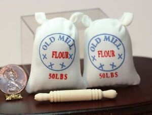Dollhouse-Miniature-Baking-Set-of-Two-Flour-Bags-w-Heavy-Wood-Rolling-Pin