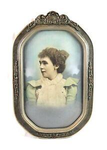 Antique-Art-Nouveau-Ornate-Picture-Frame-Convex-Bubble-Glass-Fits-15-7-8-x-9-3-4