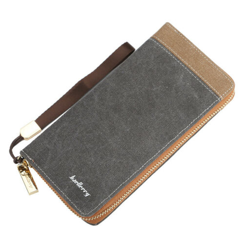 Baellerry Men/'s Canvas Large Capacity Zipper Wallet Phone ID Credit Card Holder