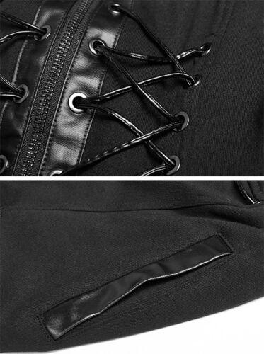 Laçages Épaulettes Punk Maille Punkrave Gothique Steampunk Gilet Capuche Manteau nw6YqZABW