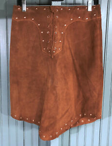 Vintage-Wilsons-Leather-Maxima-Brown-Suede-Studded-Womens-Skirt-Size-8