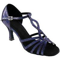 TPS Blue Multi-Colour Glitter Latin Ballroom Salsa Custom-made Dance Shoes D634