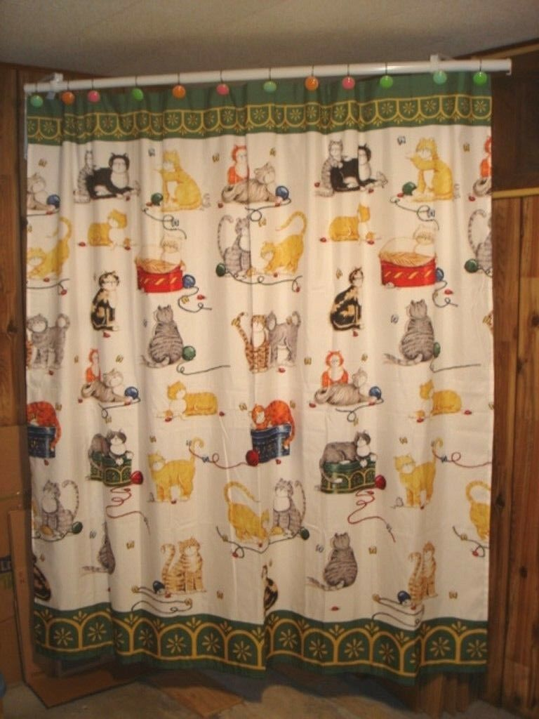 Laural Home Shower Curtain Cats Kittens Whimsical 100% Polyester 71  x 72  EUC