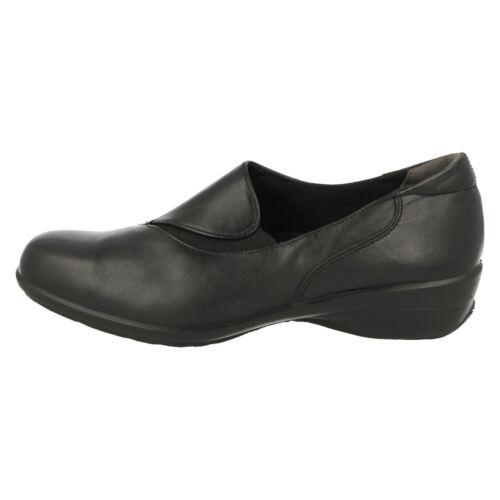 Facile b db swing femmes à enfiler smart cuir noir plat large pantalon de travail chaussures