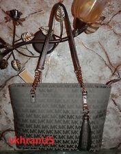 530be7edc7e0 item 4 NWT MICHAEL KORS Jet Set Chain Tassel Ice MK Signature Jacquard Gun  Leather Tote -NWT MICHAEL KORS Jet Set Chain Tassel Ice MK Signature  Jacquard Gun ...