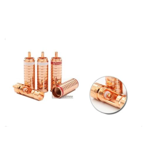 4 pcs Gaofei GF-RED03R Red Copper Plated RCA Phono Audio Plug Connector 9mm Cabl