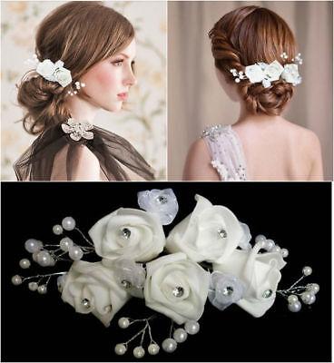 XL Haarnadeln Blume Haarschmuck Brautschmuck Perlen Braut Kommunion Diadem Tiara
