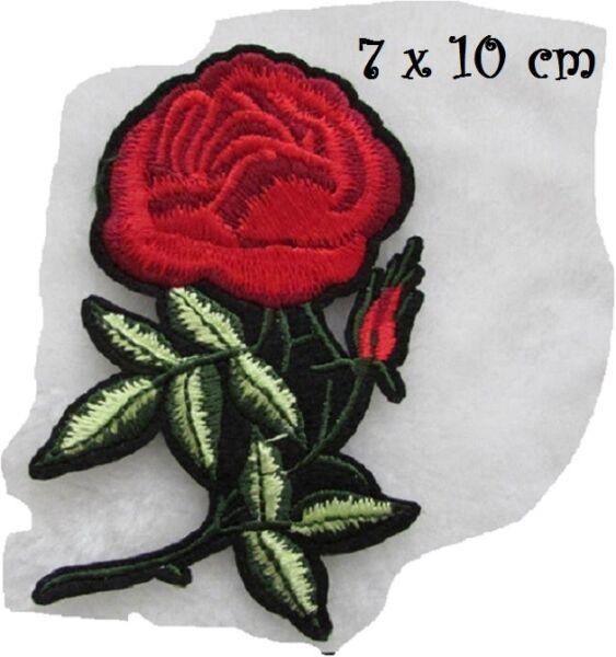 C5636 Fleur Rose Rouge 7 X 10 Cm Applique Ecusson Patch