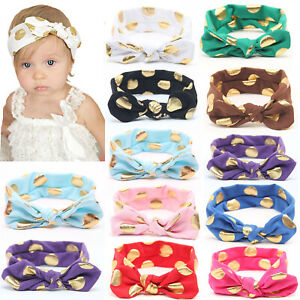 Fashion Baby Girl Kids Cotton Knotted Head Wraps Rabbit Ear Polka Dot Headband