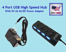 4 Port USB High Speed Hub With 5V-2A AC/DC Power Adapter Black 480 Mbps USB 2.0