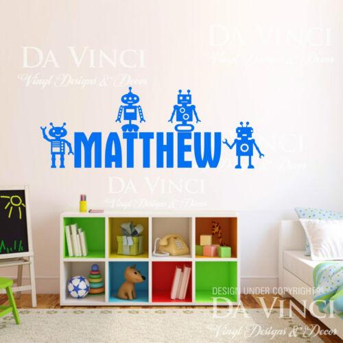 Personalized Custom Name Robot Robots Gadget Vinyl Sticker Wall Room Decal Decor