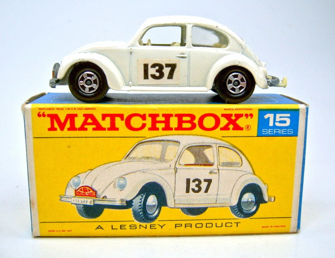 Matchbox Superfast Nr.15A VW 1500 weiß  137  in rarer Übergangsbox Box