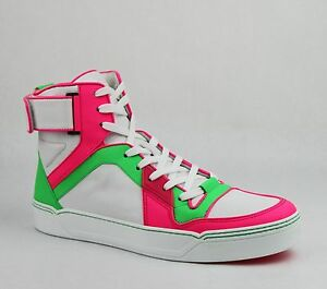 3d79ae525cba Gucci Men s Neon Leather High-top sneaker w Strap Green Pink White ...