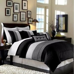 8-Piece-Luxury-Pintuck-Pleated-Stripe-Black-Gray-and-White-Comforter-Set-Queen