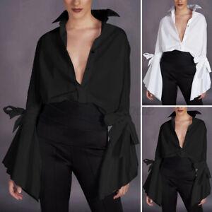 Women-Long-Sleeve-Office-Formal-Tops-Ladies-Blouse-Tee-Basic-Casual-Plain-Shirt
