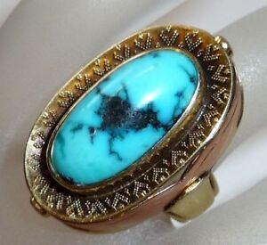 Ring-in-14-K-585-Gold-sehr-grosser-natuerlicher-Tuerkis-von-ca-7-ct-9-25-g-Gr-52