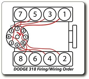 dodge ram 318 5.2l firing order plug wire diagram decal sticker | ebay  ebay
