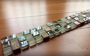 Stunning Silver Chrome Iridescent Stone/Glass Mosaic Tile Border 300x50mm