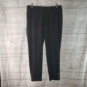 Talbots Womens Pull On Cropped Pants Sz Large Petite Black Skinny