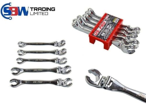US PRO Tools 5pc Flexi Head Brake Flare Nut Spanners Wrench Set 8-12mm NEW 1921