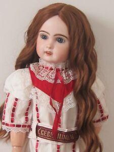 """CoopéRative Perruque Auburn Jumeau Boucles® T34/36cm-poupée Ancienne-doll Wig Head Sz14"""""""