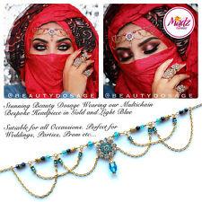 Head Hair Piece Indian Costume Jewellery Matha Patti Scarf Hijab GOLD Light Blue