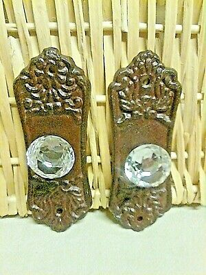 """2  Crystal knob drawer pull with aBronze cast iron backing plate 5 3//8/""""Long"""