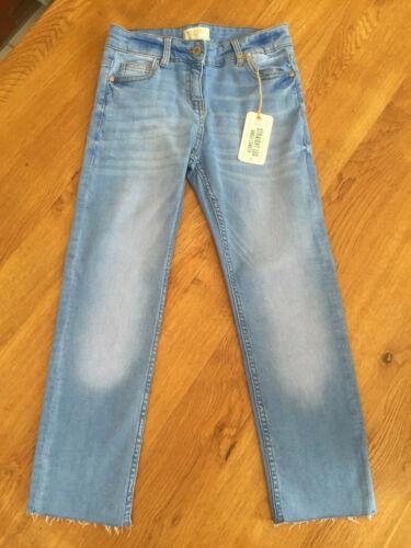 NEXT Girls Straight Leg Ankle Length Raw Hem Blue Jeans BNWT