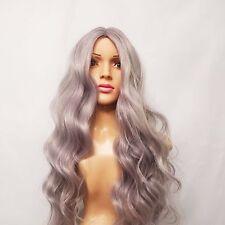 """Synthetic Long Wavy Silver Grey Lavender Wig 26"""""""