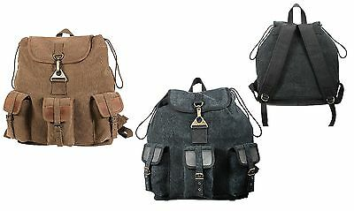 Vintage Wayfarer Backpack - Sporty Canvas Back Pack Bag Outdoor Hiking Packs