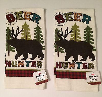 Ritz Woodland Beer Hunter kitchen dish towels Set of 2