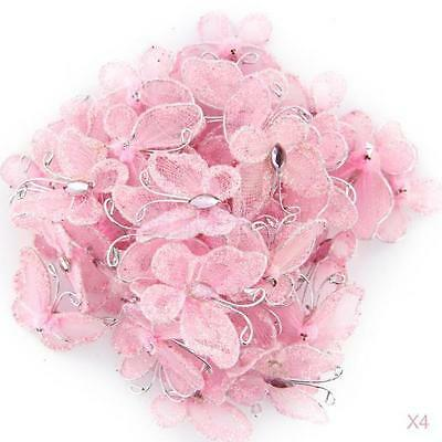 200pcs Wedding Card Wired Mesh Stocking Glitter Butterfly Craft Sewing DIY Pink